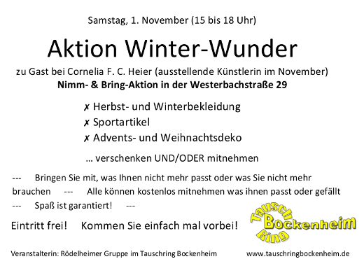 "Bild zu ""Aktion Winter-Wunder am 1. November in Rödelheim"""